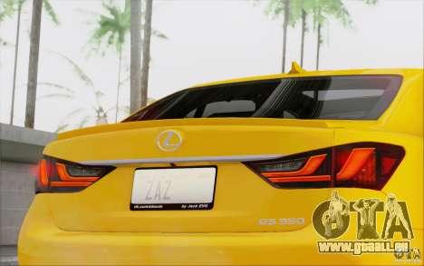 Lexus GS 350 F Sport Series IV pour GTA San Andreas vue de droite