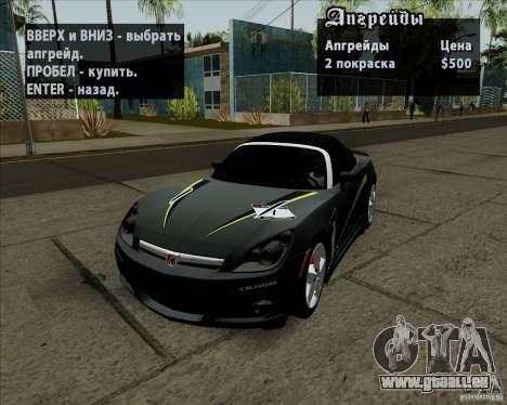 Saturn Sky Red Line 2007 v1.0 für GTA San Andreas Innenansicht