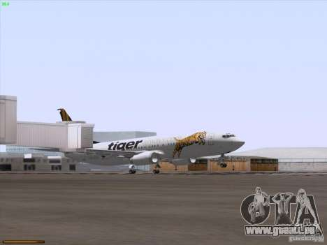 Boeing 737-800 Tiger Airways für GTA San Andreas obere Ansicht