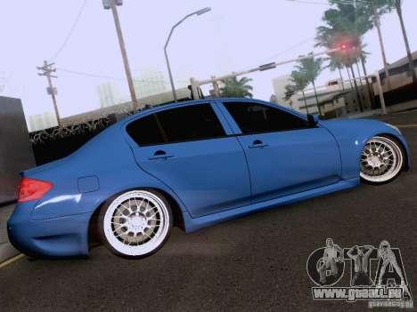 Infiniti G37 Sedan pour GTA San Andreas salon