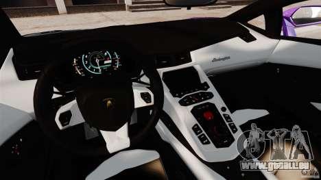 Lamborghini Aventador LP700-4 2012 Galag Gumball pour GTA 4 Vue arrière