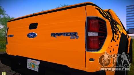 Ford F-150 SVT Raptor pour une vue GTA Vice City de la droite