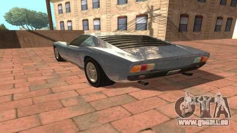 Lamborghini Miura P400 SV 1971 V1.0 pour GTA San Andreas sur la vue arrière gauche