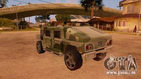 HD Patriot pour GTA San Andreas vue de dessous
