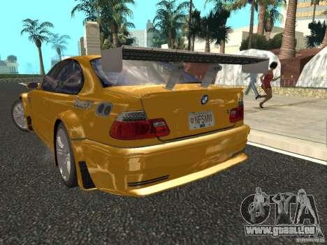 BMW M3 GTR von NFS Most Wanted für GTA San Andreas zurück linke Ansicht
