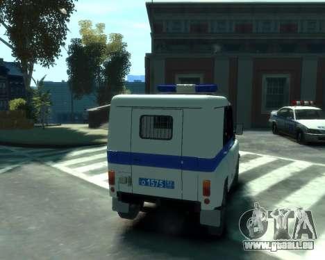 UAZ 31512 Police pour GTA 4 Vue arrière