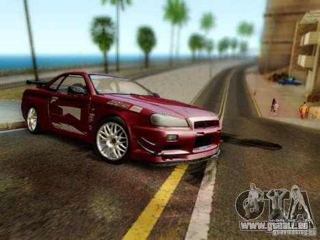 Nissan R34 Skyline GT-R pour GTA San Andreas sur la vue arrière gauche