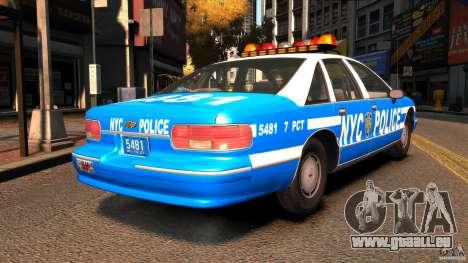Chevrolet Caprice 1993 NYPD pour GTA 4 Vue arrière de la gauche
