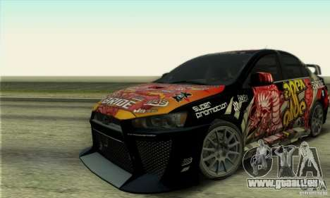 Mitsubishi Lancer Evolution X 2008 pour GTA San Andreas sur la vue arrière gauche