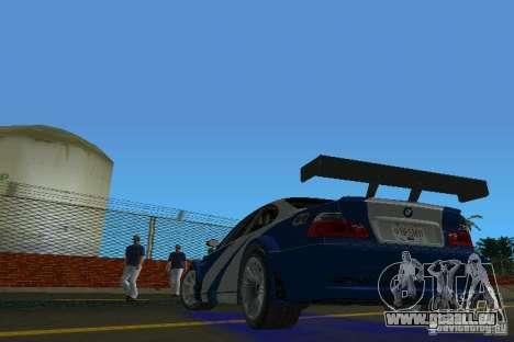 BMW M3 GTR NFSMW pour GTA Vice City sur la vue arrière gauche