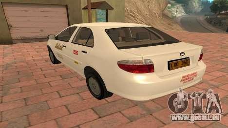 Toyota Corolla - LOLEK TAXI pour GTA San Andreas sur la vue arrière gauche