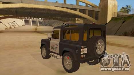 Land Rover Defender Sheriff für GTA San Andreas zurück linke Ansicht
