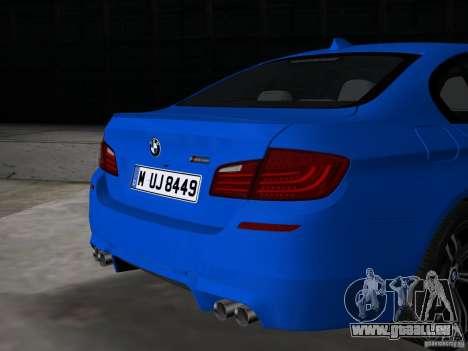 BMW M5 F10 2012 pour GTA Vice City vue arrière