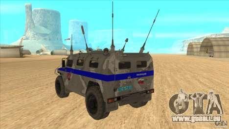 GAZ-23034 RID-1 Tiger pour GTA San Andreas sur la vue arrière gauche