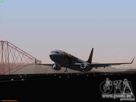 Boeing 737-800 Tiger Airways für GTA San Andreas zurück linke Ansicht