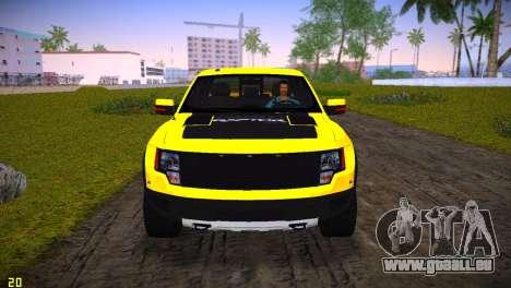 Ford F-150 SVT Raptor pour une vue GTA Vice City de l'intérieur