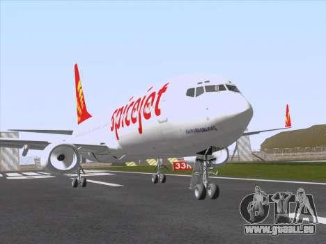 Boeing 737-8F2 Spicejet für GTA San Andreas zurück linke Ansicht