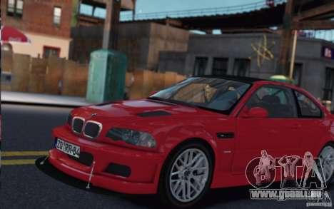BMW M3 E46 Street Version pour GTA 4 Vue arrière de la gauche
