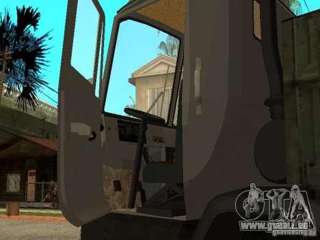 Camion à benne basculante KAZ 4540 pour GTA San Andreas vue intérieure