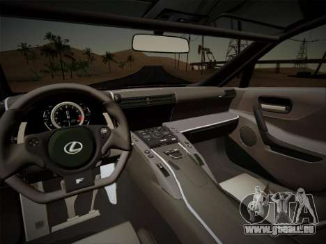 Lexus LFA Nürburgring Edition pour GTA San Andreas vue intérieure