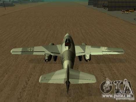 Messerschmitt Me262 für GTA San Andreas zurück linke Ansicht