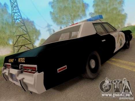 Dodge Monaco 1974 California Highway Patrol pour GTA San Andreas sur la vue arrière gauche