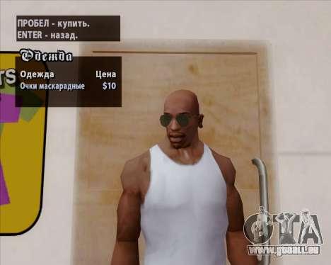 Grüne Sonnenbrille Flieger für GTA San Andreas sechsten Screenshot
