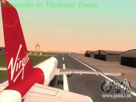 Airbus A320-211 Virgin Atlantic pour GTA San Andreas laissé vue
