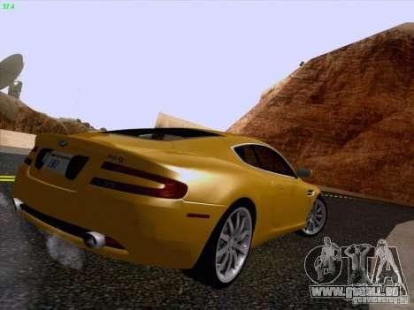 Aston Martin DB9 pour GTA San Andreas vue intérieure