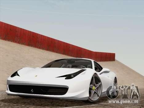 Ferrari 458 Italia 2010 pour GTA San Andreas vue arrière