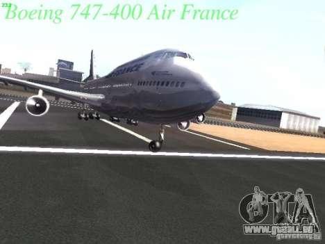 Boeing 747-400 Air France pour GTA San Andreas vue de dessous