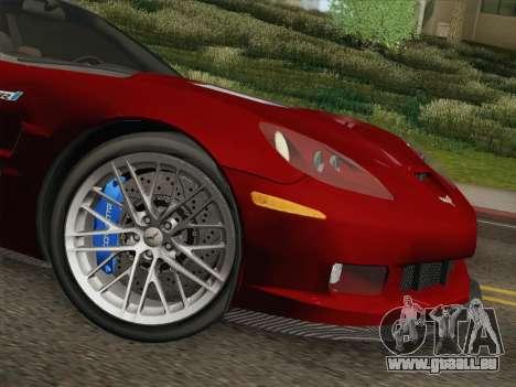 Chevrolet Corvette ZR1 pour GTA San Andreas vue de dessous