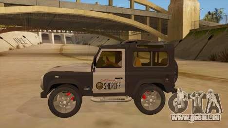 Land Rover Defender Sheriff pour GTA San Andreas laissé vue