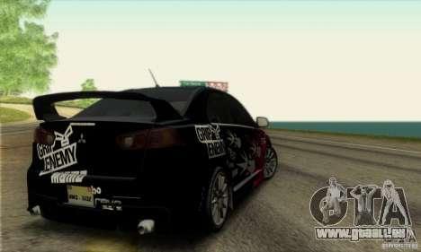 Mitsubishi Lancer Evolution X 2008 pour GTA San Andreas vue de côté