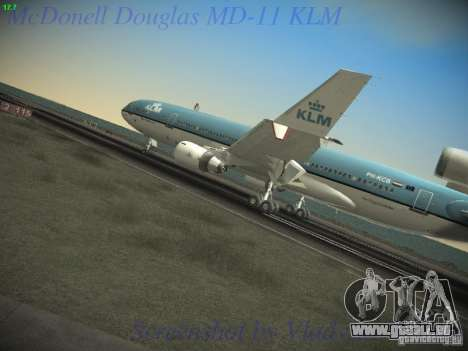 McDonnell Douglas MD-11 KLM Royal Dutch Airlines für GTA San Andreas zurück linke Ansicht