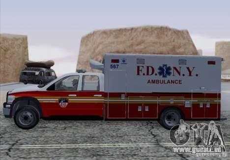 Dodge Ram Ambulance pour GTA San Andreas vue de droite