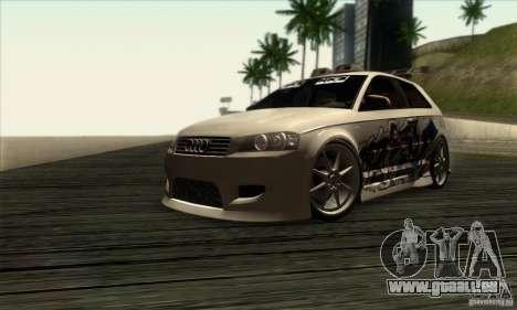 Audi A3 Tunable pour GTA San Andreas sur la vue arrière gauche