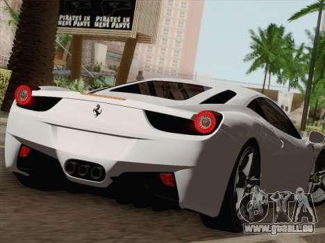 Ferrari 458 Italia 2010 pour GTA San Andreas moteur