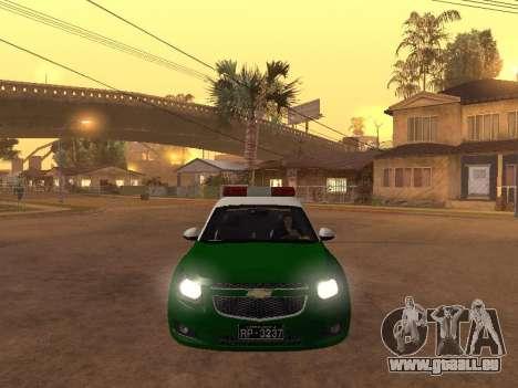 Chevrolet Cruze Carabineros Police für GTA San Andreas Innenansicht