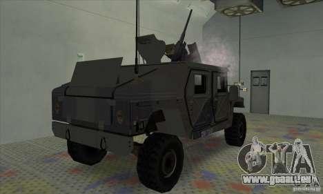 Humvee of Mexican Army pour GTA San Andreas sur la vue arrière gauche