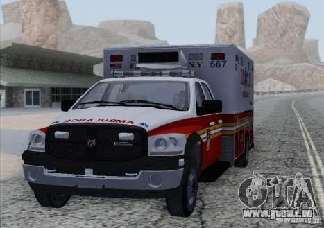 Dodge Ram Ambulance pour GTA San Andreas sur la vue arrière gauche