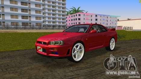 Nissan Skyline GTR R34 pour GTA Vice City sur la vue arrière gauche