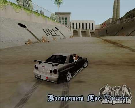 Nissan Skyline GTR R34 für GTA San Andreas obere Ansicht