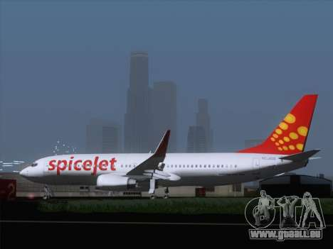 Boeing 737-8F2 Spicejet pour GTA San Andreas vue de droite