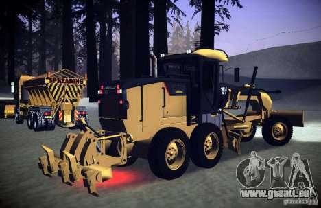 Caterpillar 140AWD Motorgrader für GTA San Andreas zurück linke Ansicht
