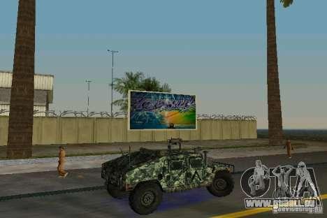 Hummer HMMWV M-998 1984 pour une vue GTA Vice City de la droite