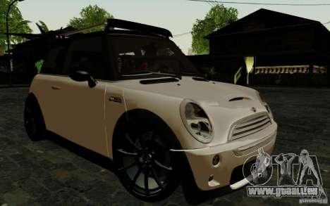 Mini Cooper S Tuned für GTA San Andreas obere Ansicht