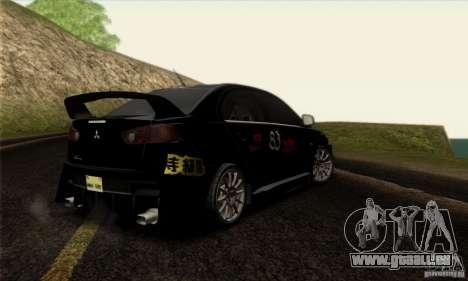 Mitsubishi Lancer Evolution X 2008 für GTA San Andreas Unteransicht