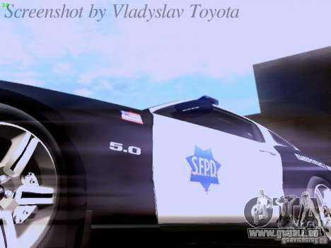 Ford Mustang GT 2011 Police Enforcement für GTA San Andreas obere Ansicht