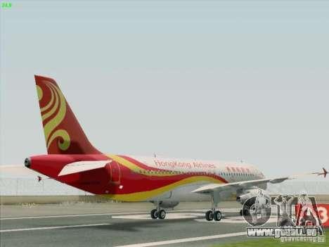Airbus A320-214 Hong Kong Airlines für GTA San Andreas zurück linke Ansicht